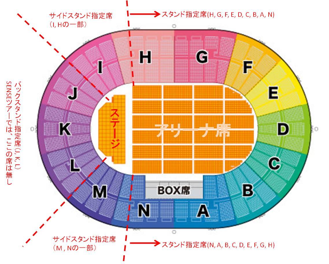 大阪城ホール_スタンド席_座席表